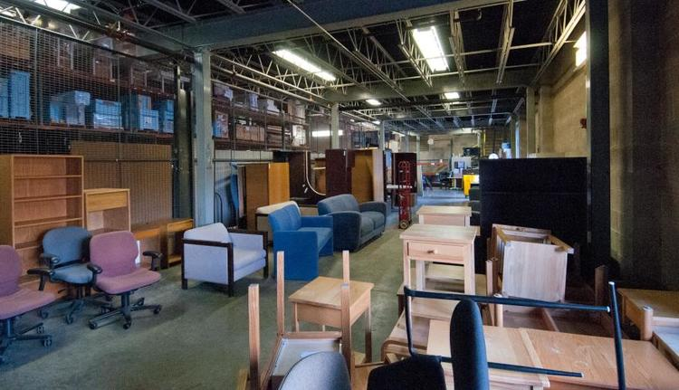 warehouse with furniture and other office supplies